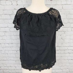 Chaser Black Lace Top M NWT